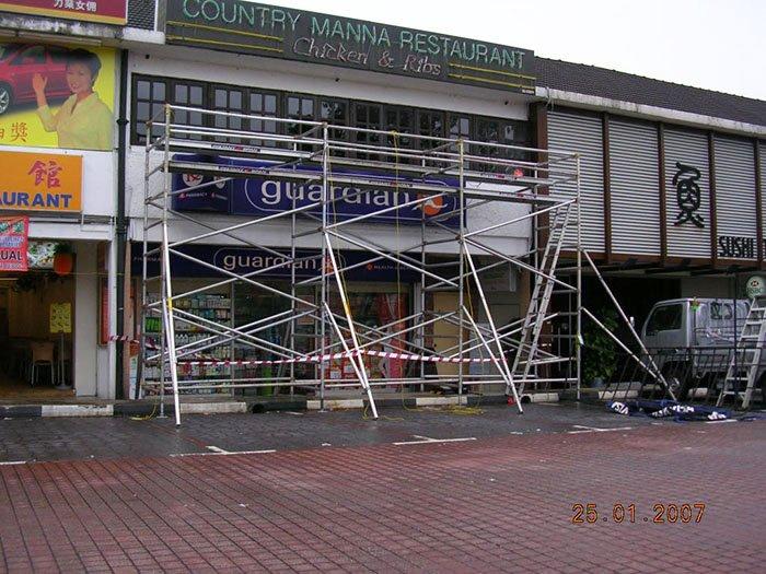 Aluminium Scaffolding for Signage Installation